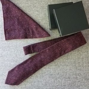 Other - Two burgundy wool ties and pocket squares